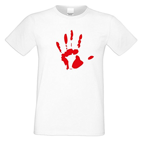Halloween T-Shirts Herren Fun-Motiv Blutige Hand gruselige Geschenkidee Party-Outfit Kostüm Hexen Gespenster Geister Farbe: weiss Weiß