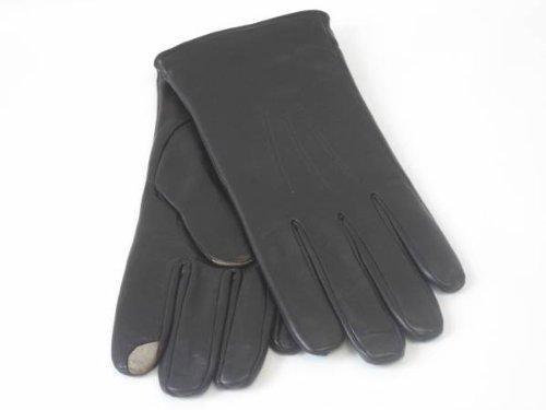 Chaud Gants en cuir pour Smartphones et Tablettes avec doublure Cachemire doux Noir - Noir