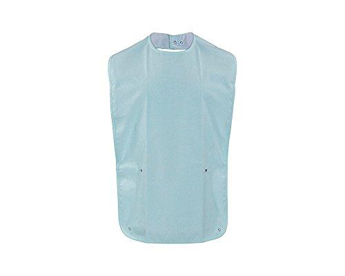 ActivePro ESS-Schürze Frottee/PU | Seniorenlätzchen zum Knöpfen mit Auffang| Essschürze für Erwachsene | abwaschbares Lätzchen | Kleiderschutz für Senioren (blau)
