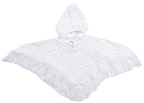 BABYTOWN, Poncho mit Kapuze, für Baby, gestrickt, mit Fransen, Größe 0-24 Monate , Strickjacke, weiß