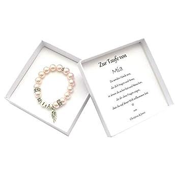Taufgeschenk für Mädchen personalisiert, Geschenkbox Taufe mit Namen, Namensarmband Taufkind, Perlenarmband mit Namen für Kinder