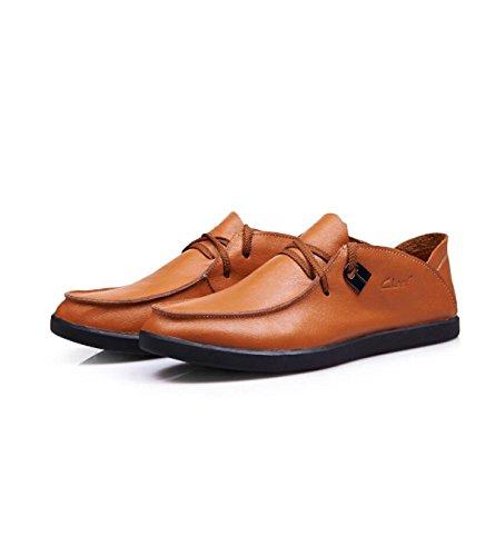 GRRONG Cuir Hommes Chaussures De Sport Luminosités Chaussures En Cuir En Cuir Souple yellow