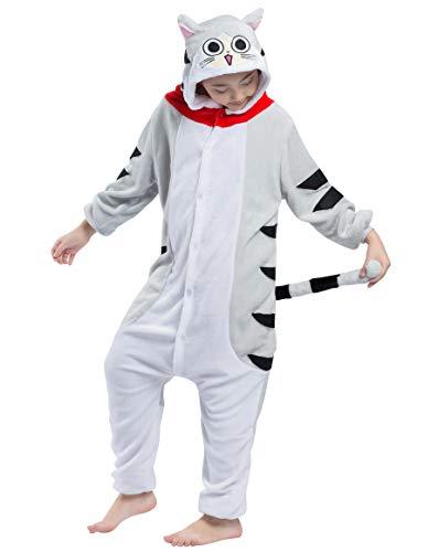 Jumpsuit Onesie Tier Karton Fasching Karneval Halloween Kostüm Kinder Mädchen Junge Kigurumi Sleepsuit Overall Pyjama Unisex Lounge Cosplay Schlafanzug, Tabby Katze