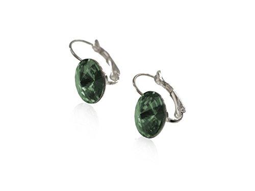 Smaragd-herz-swarovski-ohrringe (Creative-Beads Ohrring, Ohrhänger, Brisur mit funkelden Swarovski Kristall Stein 12mm , Muttertags Herz Geschenkverpackung emerald)