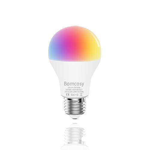 Bombilla WiFi Inteligente E27 Inalambrica LED 7W Luz Nocturna Regulable RGBW,Compatible Alexa y Google Home Control Remoto por Dispositivos iOS/Android 1Unidad[Clase de eficiencia energética A++]
