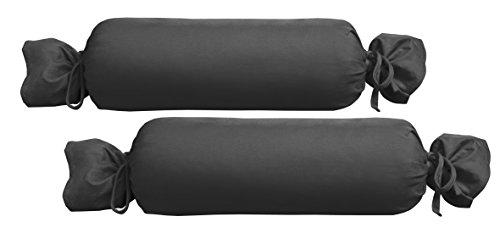 biberna 0077144 Jersey-Kissenhülle für Nackenrolle aus 100% Baumwolle, 2er-Pack, 15 x 40 cm Schwarz, 27 x 18 x 2 cm