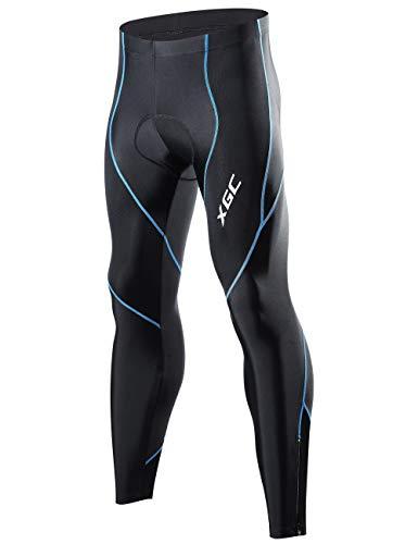 XGC Herren Lange Radlerhose Fahrradhose Radhose Radsportshorts für Männer Elastische Atmungsaktive 4D Schwamm Sitzpolster mit Einer Hohen Dichte (Blue, S)