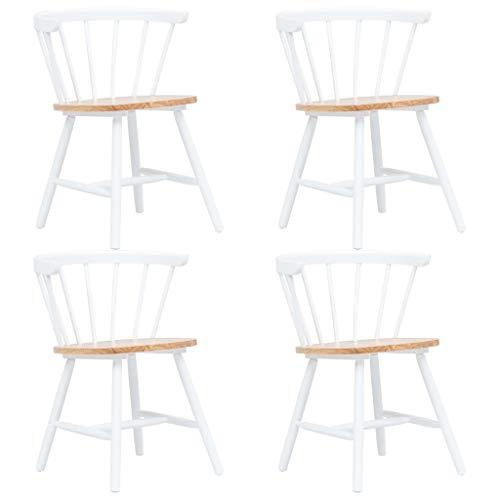 Namotu vidaXL Esszimmerstühle 4 STK. Weiß und Braun Gummiholz Massiv -