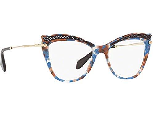 Miu Miu Damen Brillengestell Mehrfarbig Mosaico Tartarugato Blu Marrone Beige Einheitsgröße