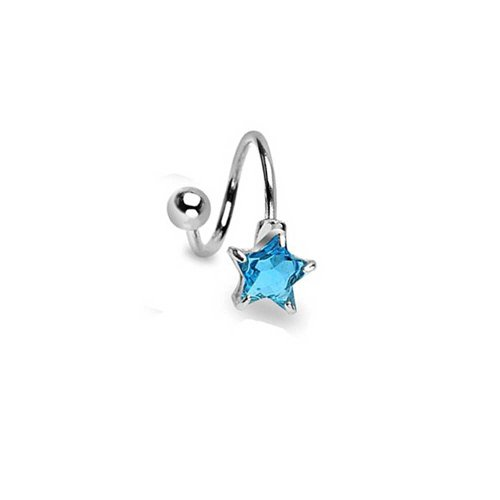 Bling Jewelry Aqua Blue Star Zirkonia Cz Twist Bar Nabel Bauch Ring Für Damen 316L Edelstahl -