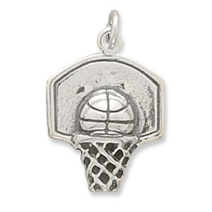 Oxidized Basketball Hoop Charm 925 Sterling Silver