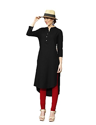 Clothfab Women\'s Reyon Material 3/4 Sleeve Palin / Solid Stylish Party Wear Kurti (Black-Colour-Size-XL)