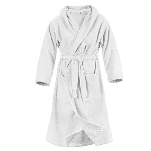 Twinzen Bademantel 100% Baumwolle Kapuze für Damen (S, Alabasterweiß) OEKO TEX zertifiziert - Morgenmantel 2 Taschen, Gürtel und Schlaufe zum Aufhängen - Weich, Saugfähig und Bequem