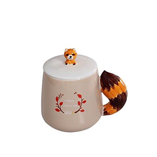 UPSTYLE feliz cada día 3d Cute dibujos animados porcelana café leche taza de cerámica taza de viaje de cerámica taza de té con tapa y Animal cola mango taza de agua para hogar, oficina tamaño 375ml, cerámica, Raccoon, 375 ml