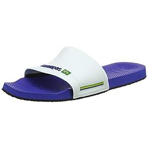 Havaianas Unisex Adult's Slide Brasil Flip Flops, Marine Blue/White, 5 UK