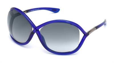 Tom Ford Für Frau 0009 Whitney Shiny Blue / Gradient Smoke Kunststoffgestell Sonnenbrillen Tom Ford Whitney Sonnenbrille