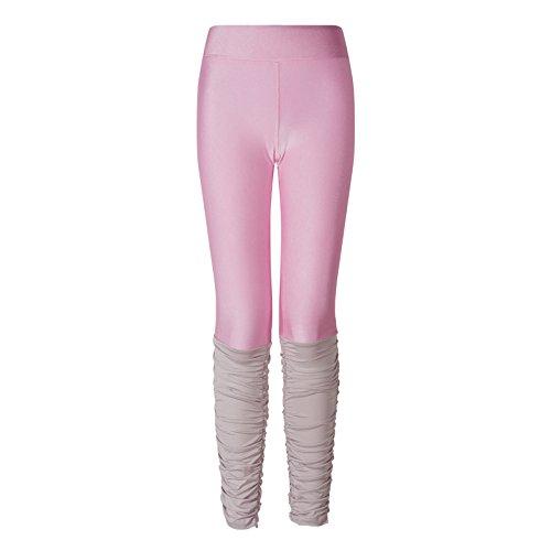 hippolo Frauen Nähte Candy Farbe Leggings Fitness Running Tights Gym Dancing Hose rosa rose M Farbe Leggings