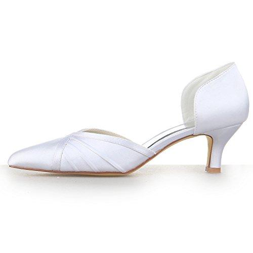 JIA JIA Chaussures de Mariée Pour Femme 5355 Bout Pointu Bas Talon Volants de Pompes en Satin Chaussures de Mariage Blanc
