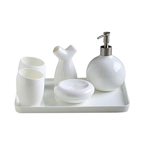 55 piece set-sala da bagno in stile Europeo bone china ceramica spazzola per WC per (Bone China Crema)