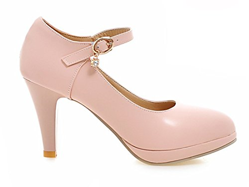 YE Damen Bequeme Knöchelriemen High Heels Plateau Pumps mit Blockabsatz und Schnalle Schuhe Rosa