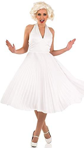 Erwachsene Für Kostüm Filmstar - Fancy Me Damen Sexy weiß 1950s Filmstar Promi Symbol Kult Beauty Modell Schauspielerin TV Glamourös Maskenkostüm - Weiß, 8-10