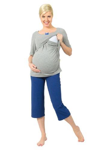 Be, mama! stillpyjama schwangerschaftsschlafanzug modèle pERLA Gris - Gris/bleu