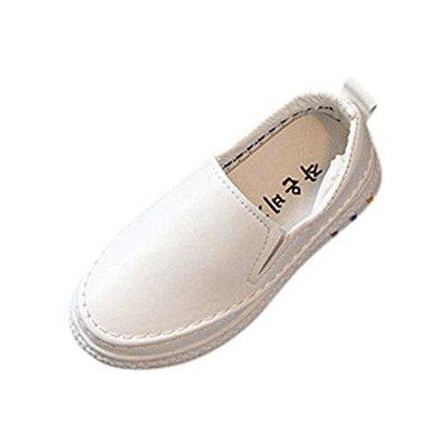 Mode Freizeitschuhe Kleinkind Kinder, DoraMe Jungen Mädchen Skate Schuhe PU Solide Sportschuhe Unisex Loafers Schuhe Sneaker für 3-8.5 Jahr (8-8.5 Jahr/Size(CN):36, Weiß) (Weiße Schuhe Iii)