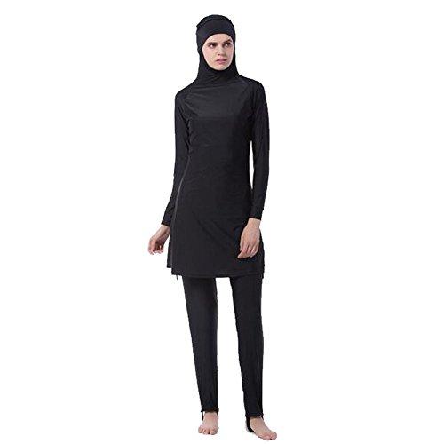 Meijunter Middle East Muslim Bescheiden Voller Deckel Sun Protection 2-Stück Badeanzug Bathing Suit islamisch Araber Malaysia Hijab Bademode Burkini Beachwear Für Frauen (Farbe:Schwarz,Größe:XXXXL)