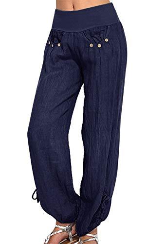 Vertvie Damen Hosen Lang Einfarbig Harem-Stil Pumphose Haremshose Sommerhose Yogahose Aladinhose Pluderhose mit Elastischen Bund(Marineblau, EU L/Etikettengröße XL)