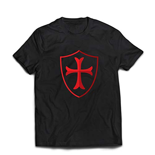 lepni.me Männer T-Shirt Die Tempelritter Schild, Rotes Kreuz, Christlicher Ritterorden (XX-Large Schwarz Mehrfarben)