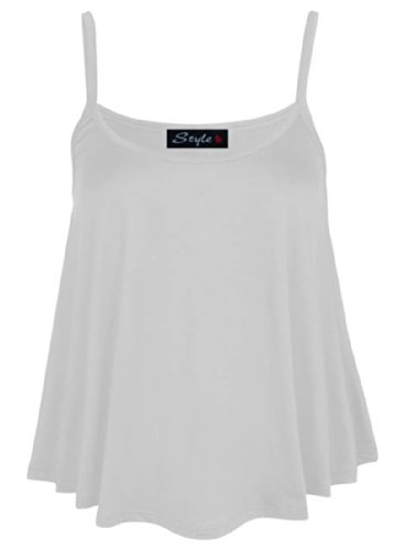 New Big weniger 4 Fashion Damen Ärmelloses Unterhemd Top Übergröße Gr. 42-48 Strapy-Top. Weiß - Weiß