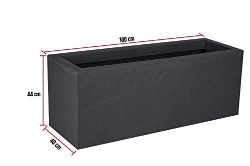 Kreher XL Pflanzkasten rechteckig der Serie Stone in Anthrazit, aus robustem Kunststoff, in verschiedenen Größen (98 L)