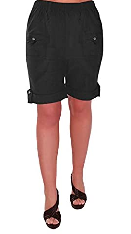 Skye Ladies Relaxed Comfort Elasticized Flexi Stretch Womens Shorts Plus Sizes Black Size 12