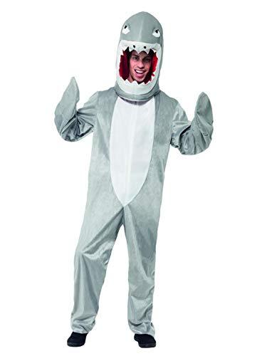 Kostüm Overall Hai Pet - Halloweenia - Herren Männer Kostüm Plüsch Hai Fisch Fell Einteiler Onesie Overall Jumpsuit, perfekt für Karneval, Fasching und Fastnacht, One Size, Grau