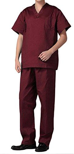 Unisex Schlupfkasack Schlupfjacke Lab Medizin Uniform Scrub Top und Hose Set Berufskleidung CF9027 (L, Dunkelrot Herren) (Herren-scrub-hose)