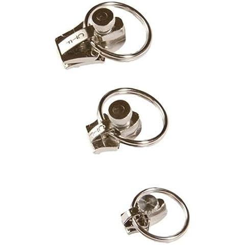 FixnZip níquel pequeños plata tirador de repuesto para cremallera Slider Kit de reparación, níquel, Small, Medium & Large
