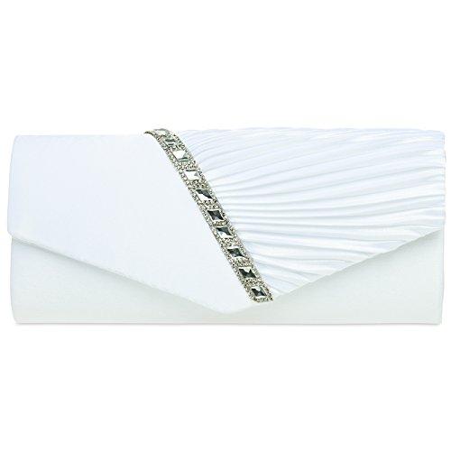 CASPAR TA391 elegante Damen Satin Clutsch Tasche Abendtasche mit Glitzer Strass und Falten, Farbe:weiss;Größe:One Size (Clutch Tasche)
