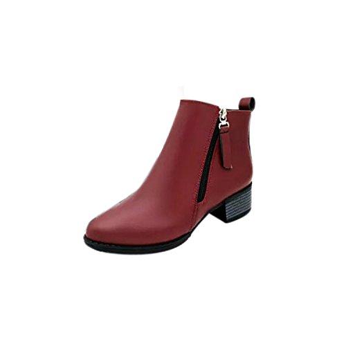 ZARU ❀ Mujeres Moda Zapatos Casual Vintage Ankle Boots Women Boots Side Cremallera Zapatos ❀ (39, Vino Rojo)
