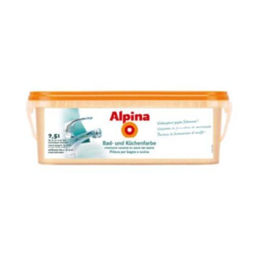 ALPINA Bad und Küchenfarbe WEISS 2,5 Liter Farbe Wandfarbe 20 m² weiß