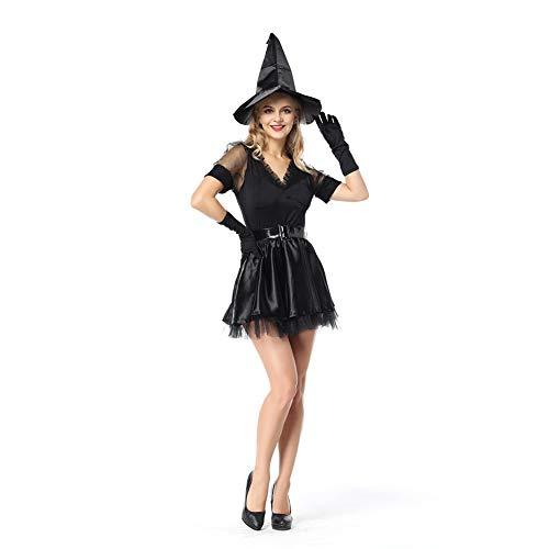 Teufel Legende Kostüm - OLKWG Hexenkostüm Klassische Schwarze Hexe Cosplay Kostüm Teufel Halloween Böse Legende,OneSize