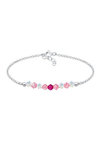 Elli Kinder Echtschmuck Armband Beads Rosa mit Swarovski Kristalle in 925 Sterling Silber 14 cm Länge