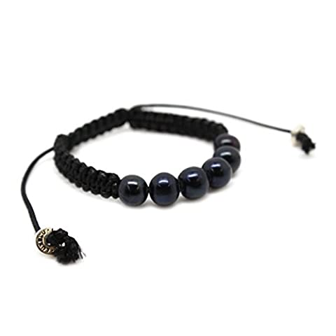 Mens Bracelet – Black Pearl Beads, Black Macrame Rope and Sterling Silver – Luxelu London Black Pearl Collection (Small)