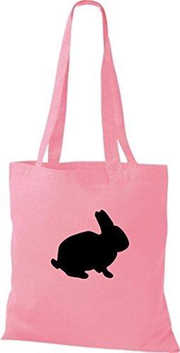 ShirtInStyle Stoffbeutel Hase Baumwolltasche Beutel, diverse Farbe classic pink