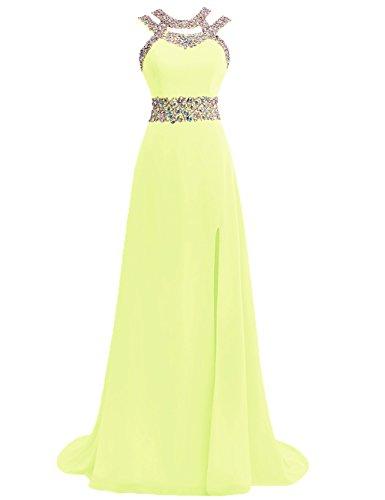 Ballkleider Abendkleider Lang Damen Festkleider Hochzeitskleider Chiffon A Linie Gelb EUR32