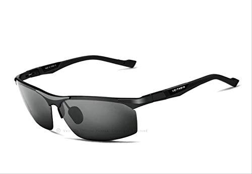 MJDL Aluminium Magnesium Herren Sonnenbrille Polarized Blue Coating Spiegel Sonnenbrille Oculos Brillenzubehör Herren Schwarz
