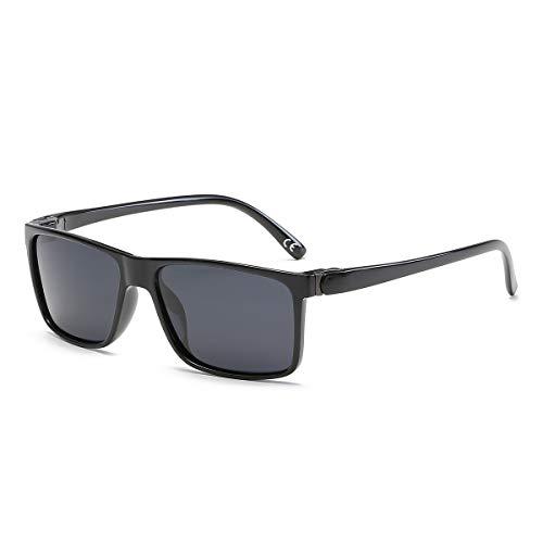 BLEVET Retro Herren Sonnenbrille Polarisierte Damen Sport Fahren Anti UV BX004 (Light Black Frame Grey Lens)