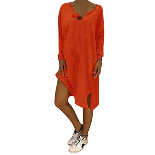 LOPILY Lose Tunika Blusenkleider Damen Sommer Lässige Spitzensaum V-Ausschnitt Kleider Strandkleid Einfarbig Einfach Bequem Freizeit Knielang Sommerkleider Übergröße(X1-Orange,EU-48/CN-4XL)