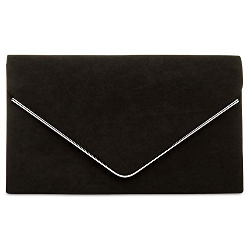 Schwarze Clutch (CASPAR TA356 Damen elegante Textil Velours Envelope Clutch Tasche/Abendtasche mit langer Kette, Farbe:schwarz;Größe:One Size)