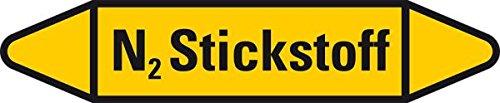 LEMAX® Rohrleitungsetikett N2 Stickstoff,gelb/schwarz,für Ø 60-90mm,252x52mm,3/Bogen 4 Stück