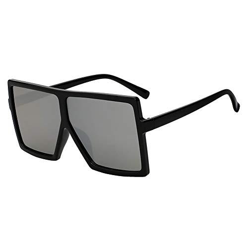 Shihuam Übergroße quadratische Frauen-Sonnenbrille Er Fashion Glasses für weibliche Retro- Weinlese-Sonnenbrille Big Oculos,Schwarz mit Silber Mir